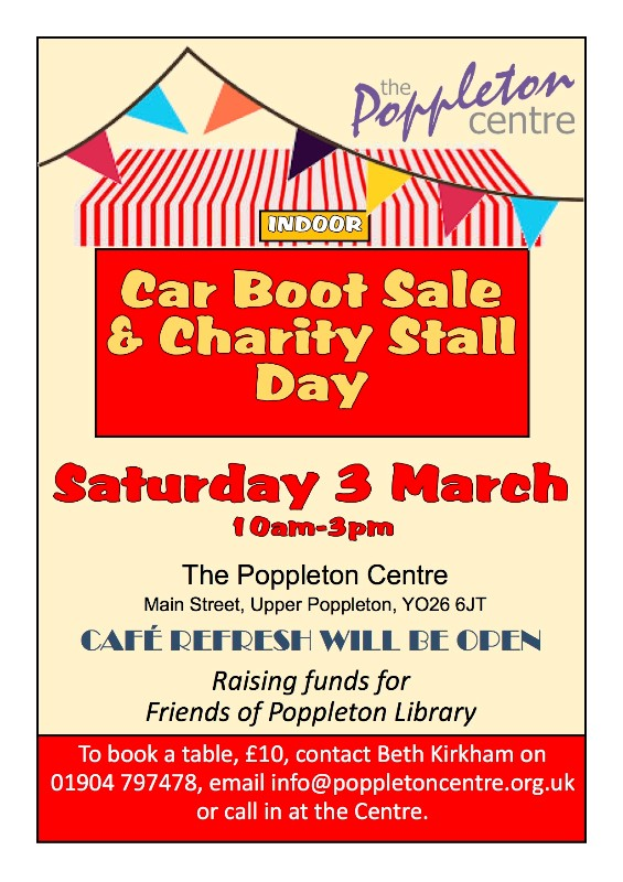 Indoor Carboot Sale & Charity Stall Fundraiser Sat 3rd March, 2018
