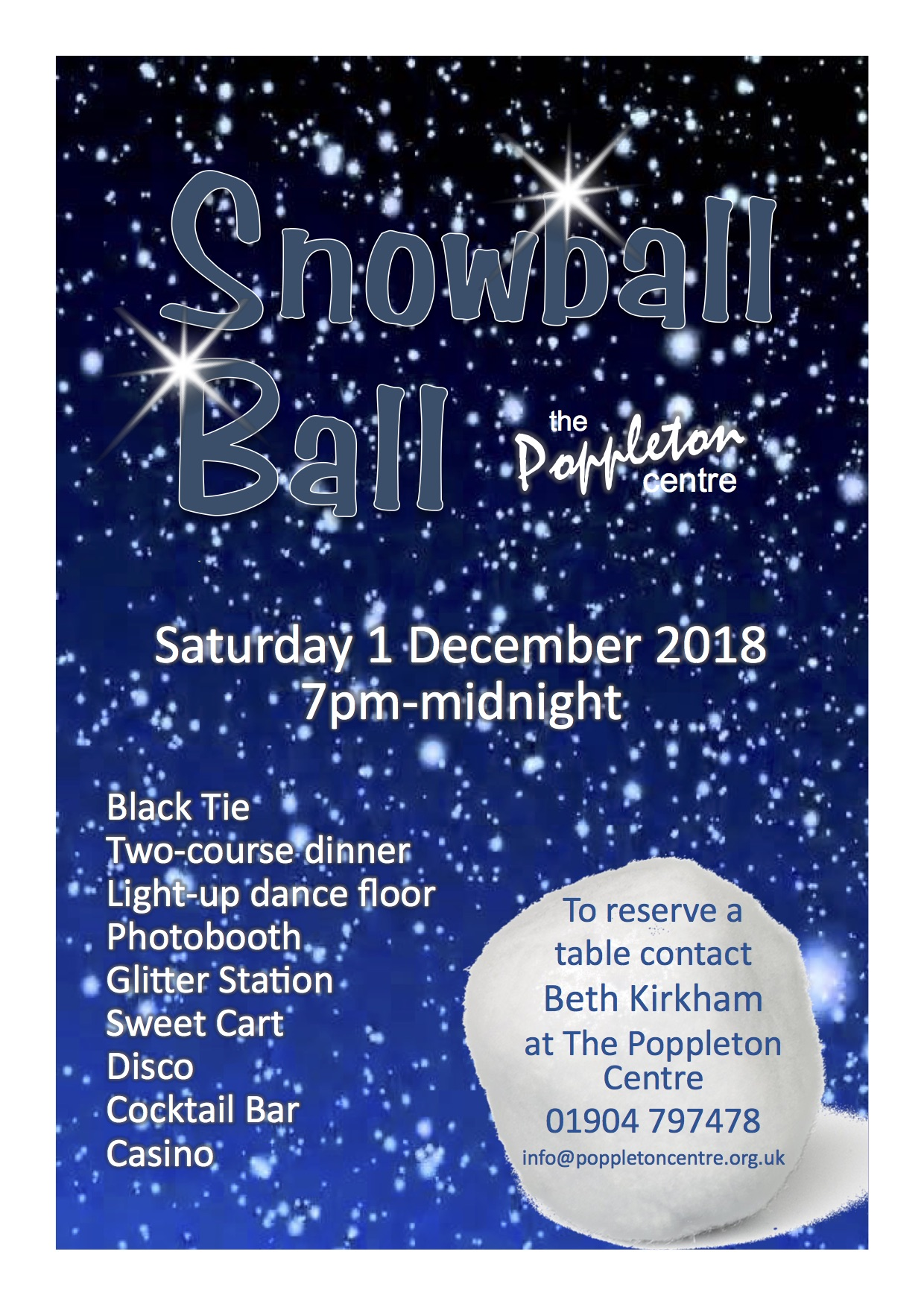 Snow Ball 1st Dec 2018 SOLD OUT